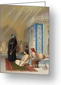 Hookah Greeting Cards - Pool in a Harem Greeting Card by Jean Leon Gerome