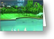 Cebucity Greeting Cards - Pool with City Lights Greeting Card by James Bo Insogna