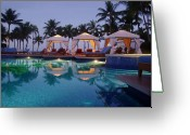 ; Maui Greeting Cards - Poolside at Dawn Greeting Card by Ellen Henneke