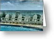 Aqua Condominiums Photo Greeting Cards - Poolside with a View Greeting Card by Julie Dant