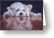 Dog Prints Pastels Greeting Cards - Pooped Pooch Greeting Card by Kay Ridge