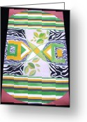 Acrylic Tapestries - Textiles Greeting Cards - Pop Art Afrikana Greeting Card by Laurie Alpert