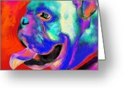 Whimsical Greeting Cards - Pop Art English Bulldog painting prints Greeting Card by Svetlana Novikova