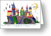 White Digital Art Greeting Cards - Pop Art Hogwarts Greeting Card by Christopher Ables