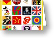 Rolling Stones Mixed Media Greeting Cards - Pop Art Poster 01 Greeting Card by Maria Szollosi