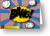 Book Greeting Cards - Pop BANG Greeting Card by Suzanne Barber