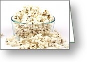 Overflowing Greeting Cards - Popcorn in glass bowl Greeting Card by Blink Images