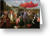 Clergy Greeting Cards - Pope Clement XI in a Procession in St. Peters Square in Rome Greeting Card by Pier Leone Ghezzi