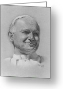 Photorealism Pastels Greeting Cards - Pope John Paul II Greeting Card by Nanybel Salazar
