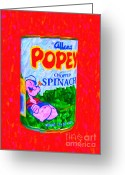 Cartoons Greeting Cards - Popeye Spinach Greeting Card by Wingsdomain Art and Photography