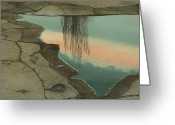 Puddle Painting Greeting Cards - Poplar Puddle Greeting Card by Laurie Stewart