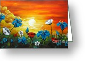 Photographs Painting Greeting Cards - Poppies and Iris Greeting Card by Uma Devi