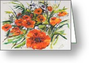 Green Field Painting Greeting Cards - Poppies and Wildflowers Greeting Card by Elisabeta Hermann