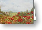 Tuscan Greeting Cards - Poppies Greeting Card by Chris Brandley