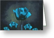 Blue Flowers Digital Art Greeting Cards - Poppies Fun 01 - Bb Greeting Card by Variance Collections