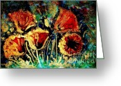 Most Painting Greeting Cards - Poppies in gold Greeting Card by Zaira Dzhaubaeva