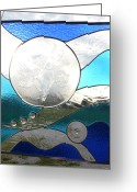 Panel Glass Art Greeting Cards - Poppies in the Clouds Greeting Card by Arlene  Wright-Correll