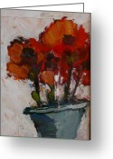 Small Works On Paper Greeting Cards - Poppies Greeting Card by Juliet Mevi