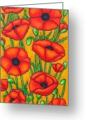 Green Field Painting Greeting Cards - Poppies Under the Tuscan Sun Greeting Card by Lisa  Lorenz