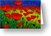 Green Painting Greeting Cards - Poppy Corner II Greeting Card by John  Nolan