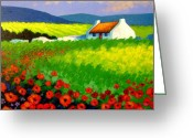 Landscape Greeting Cards Greeting Cards - Poppy Field - Ireland Greeting Card by John  Nolan