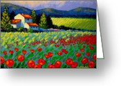 Giclees Greeting Cards - Poppy Field - Provence Greeting Card by John  Nolan