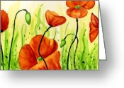 Botanical Greeting Cards Prints Greeting Cards - Poppy Field Greeting Card by Ann Troe