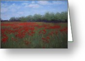 Lanscape Pastels Greeting Cards - Poppy Field Greeting Card by Carol Conrad