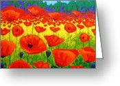 Ireland Greeting Cards - Poppy Field V Greeting Card by John  Nolan