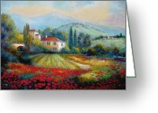 Impressionism Art Greeting Cards - Poppy fields of Italy Greeting Card by Gina Femrite