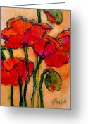 Fushia Painting Greeting Cards - Poppy Sketch Greeting Card by Carol  Nelson