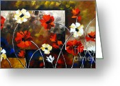 Flower Photographs Painting Greeting Cards - Poppy Spectrum Greeting Card by Uma Devi