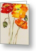 Orange Greeting Cards - Poppy Trio Greeting Card by Anne Duke