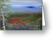 Color Image Painting Greeting Cards - Poppy Valley Greeting Card by Jamie Hartley