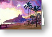 Palm Trees Greeting Cards - Por do Sol Greeting Card by Douglas Simonson
