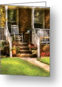 Porch Greeting Cards - Porch - Garwood NJ - Granpas Chair Greeting Card by Mike Savad