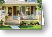 Porch Greeting Cards - Porch - Garwood NJ - The home of a little old lady Greeting Card by Mike Savad