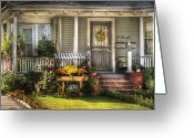 Porch Greeting Cards - Porch - Wetfield NJ - The house of an Angel Greeting Card by Mike Savad