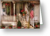 Rail Greeting Cards - Porch - Americana Greeting Card by Mike Savad