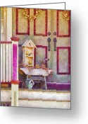 Purple House Greeting Cards - Porch - Cranford NJ - The birdhouse collector Greeting Card by Mike Savad