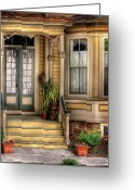 Curtain Greeting Cards - Porch - House 109 Greeting Card by Mike Savad
