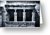 Ancient Prints Greeting Cards - Porch of the Caryatids Greeting Card by John Rizzuto