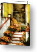 Wicker Chair Greeting Cards - Porch - Westifeld NJ - In the light of Autumn Greeting Card by Mike Savad