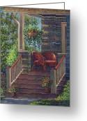 Wicker Baskets Greeting Cards - Porch with Red Wicker Chairs Greeting Card by Susan Savad