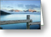 Snowcapped Greeting Cards - Porma Reservoir Greeting Card by Lmdm43