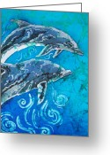 Pair Tapestries - Textiles Greeting Cards - Porpoise Pair - Close Up Greeting Card by Sue Duda
