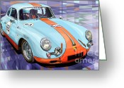 Vintage Mixed Media Greeting Cards - Porsche 356 Gulf Greeting Card by Yuriy  Shevchuk