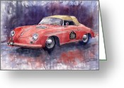 Motorsport Greeting Cards - Porsche 356 Speedster Mille Miglia Greeting Card by Yuriy  Shevchuk