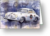 Sport Painting Greeting Cards - Porsche 356 Speedster Greeting Card by Yuriy  Shevchuk