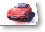 Porsche Greeting Cards - Porsche 911 Carrera 2 1990 Greeting Card by Yuriy  Shevchuk